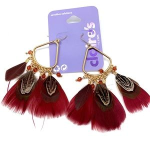 5/$25 Gold drop red feather hook back earrings